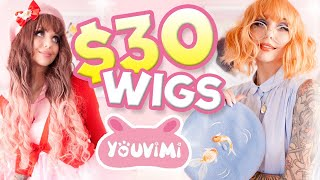 TRYING ON $30 WIGS! COULD THEY POSSIBLY... BE... CUTE??!? wtf | Youvimi Wig Review