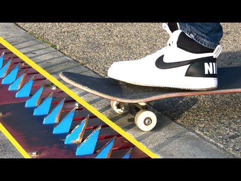 Skate Tricks through a Spike Strip!