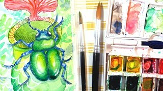 How To Paint A Beetle In Watercolor || Tropical Rainforest Insect Painting