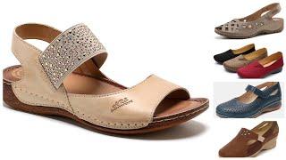 Comfortable Ladies Platform Shoes Leather Sandals Footwear  Designs For Girls