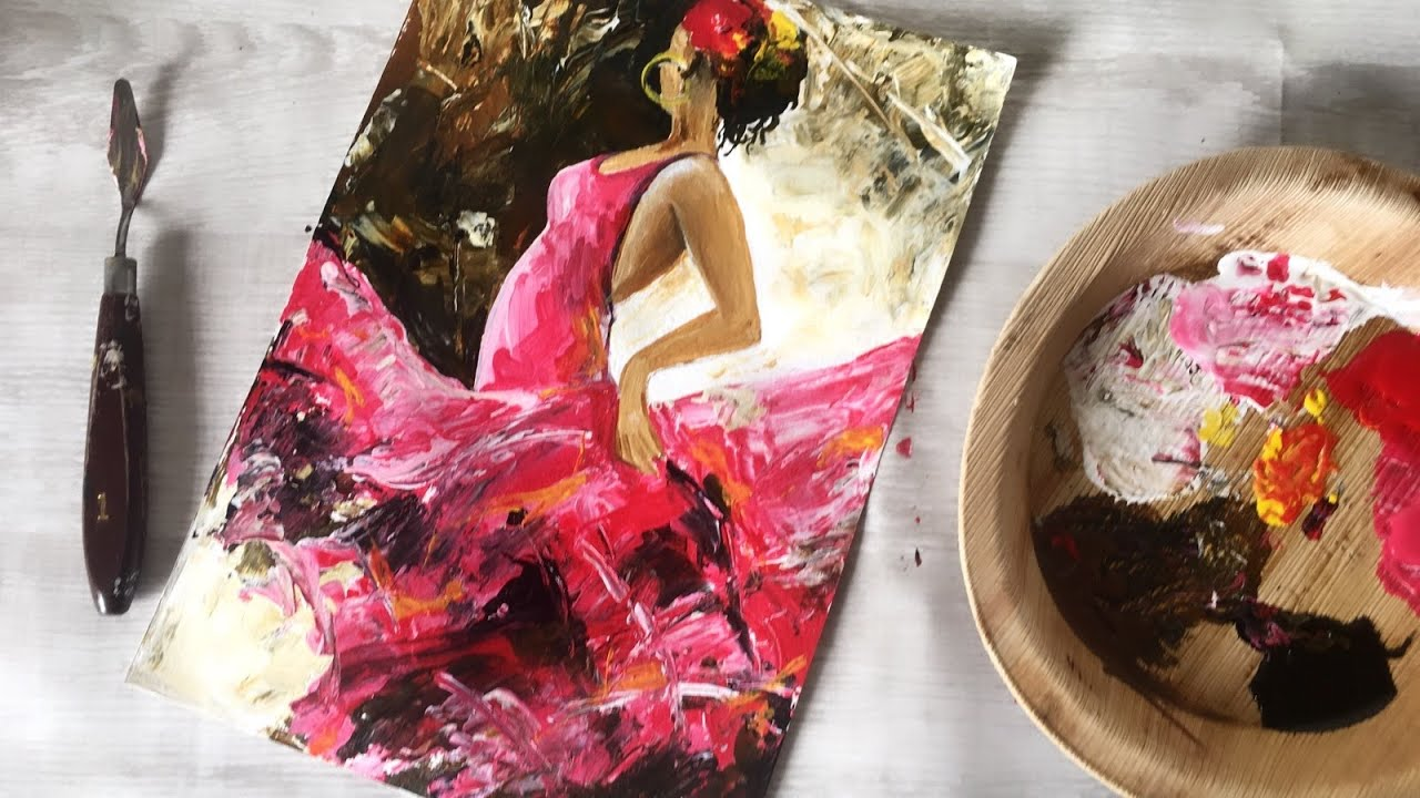 Как нарисовать танцующую девушку   Шпатель учебник   Debslilarts