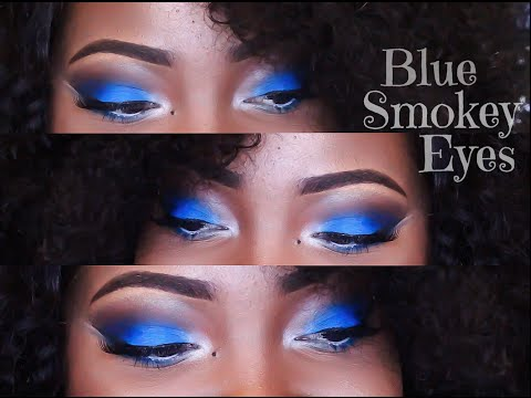 BLUE SMOKEY EYES + BROWN LIPS | MAKEUP TUTORIAL
