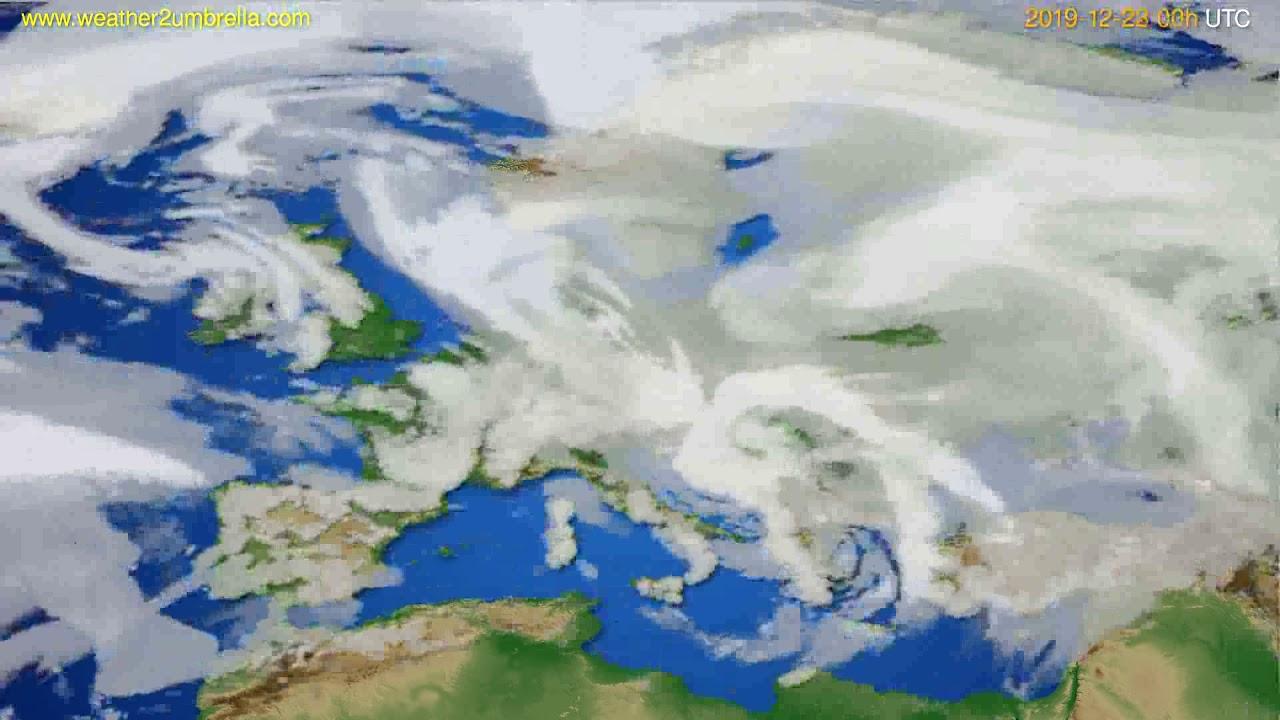Cloud forecast Europe // modelrun: 00h UTC 2019-12-22