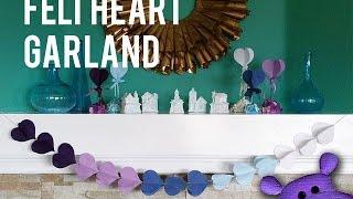 3D Felt Heart Garland