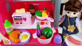 Baby doll kitchen cart and food cooking toys car play - ToyMong TV 토이몽