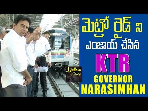 KTR Visits Hyderabad Metro Railway Station with Governor Narasimhan | Hyderabad Metro Rail | news