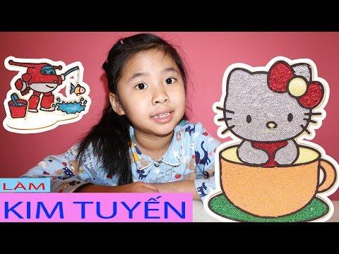 Bố Pha Màu Kim Tuyến - Bé Bún Tô Màu Hello Kitty và Bé Bắp Tô Màu Đội Bay Siêu Đẳng