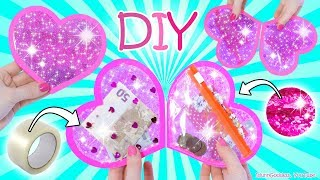 How To Make A Heart Wallet Out Of Clear Tape And Glitter - DIY Glitter Heart Wallet