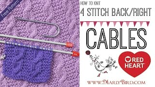 Beginner Basics Knitting: How to Knit 4 Stitch Right Cable