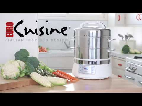 , Euro Cuisine FS2500 Electric Food Steamer, White/Stainless Steel