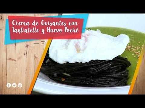 Crema de Guisantes con Tagliatelle y Huevo Poché / La Pera Limonera