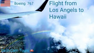 Delta Airlines Flight 1283 from Los Angeles to Honolulu, Oahu, Hawaii in full.  Boeing 767. No music