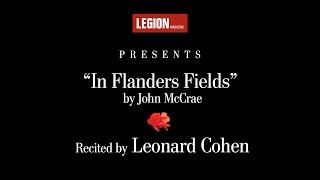 "Leonard Cohen recita el icónico poema ""In Flanders Fields"" RememberThem"