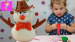 Новый Год 2017 лепим снеговика на столе набор для детей merry potato buddies поделки из пластилина