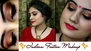 Image for video on Diwali Makeup | Indian Festive Makeup Tutorial:Golden Copper eyes & Red lips | Swatzparadise | 2016 by SwatzParadise