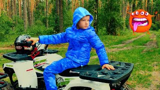Lost in scary woods! Den and Mom ride on quad bike. Story for kids