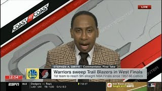 ESPN FIRST TAKE | Warriors sweep Trail Blazers to 1st team to reach 5th straight NBA Finals