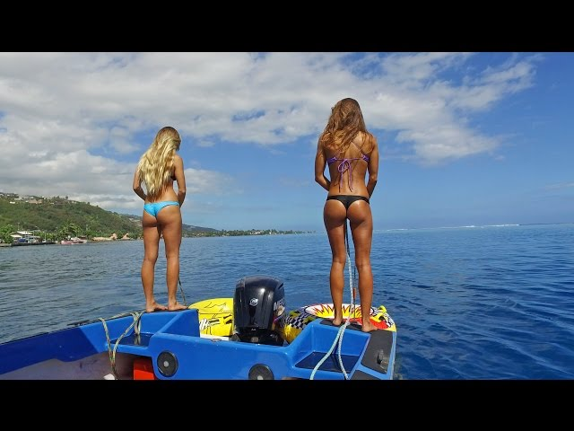 KALOEA Surfer Girls - Tubing in Tahiti (HD Drone )... Funny Wipeouts...