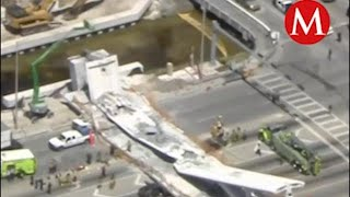 Colapsa puente peatonal en Miami, varios vehículos quedaron bajo los escombros