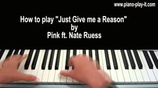 Just Give Me a Reason Piano Tutorial Pink ft. Nate Ruess