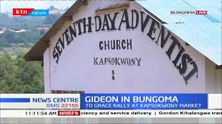 Senator Gideon Moi attends a mass service in Bungoma before his rally in the region