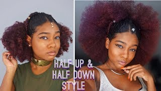 Natural Black Summer Hairstyles: Slick Back Half Up Half Down Festival Style |The Mane Choice