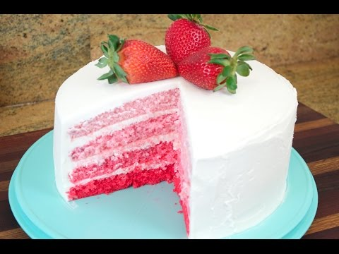 Strawberry Ombre Cake with White Chocolate Cream Cheese Buttercream Frosting