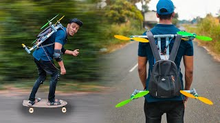 World's First DRONE powered SKATING BOARD | ഞാൻ ഇപ്പ പറക്കും | FLYING HOVERBOARD Making