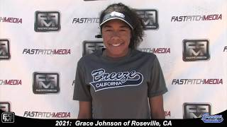 2021 Grace Johnson Speedy Slapper, Athletic Outfielder & 2nd Base Softball Skills Video - Ca Breeze