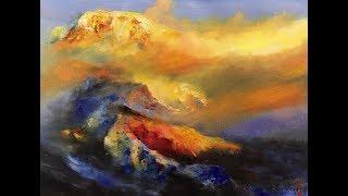 夕陽光的穿越面積很大時,山的暗面色彩逸出面積就小了很多 (ultramarine )