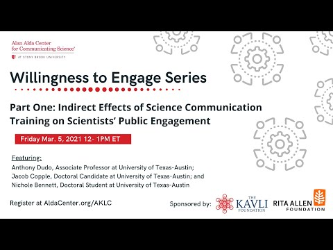 Willingness to Engage, Part 1: Indirect Effects of SciComm Training