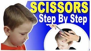 HOW TO CUT BOYS HAIR AT HOME | SCISSOR HAIRCUT TUTORIAL | STEP BY STEP
