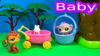 LPS Sleepy Bobblehead Monkey Baby Family Treehouse Littlest Pet Shop Toy Play Video