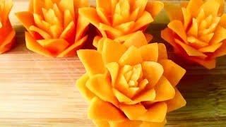 تحميل اغاني طريقة صنع زهرة وردة جميلة من الجزر لتزيين المائدة MP3