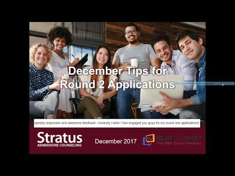 December Tips for R2 MBA Applications