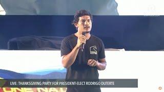 Baste Duterte's speech at thanksgiving party