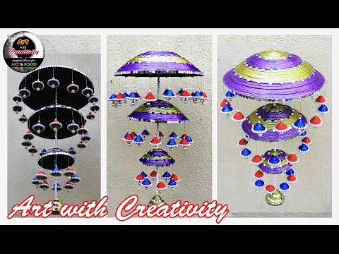 Newspaper wall hanging | Newspaper wind chime | best out of waste | Art with Creativity 120