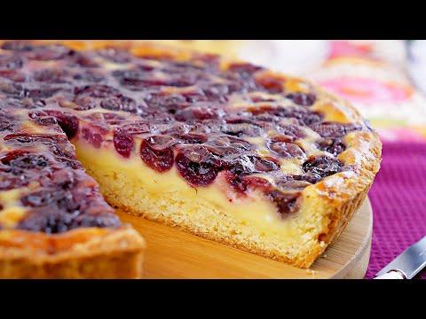 Открытый фруктовый песочный пирог со сметанной заливкой! Пирог с черешней/вишней в сметанной заливке