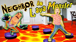 Floor Is Lava In Real Life With Neighbor As Lava Monster!