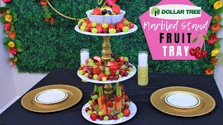 Dollar Tree DIY Marbled Fruit Tray 🍒🍓🍇 | 3 Tier Stand | Wedding Decorations