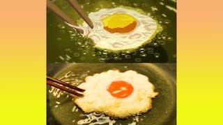 ไข่ดาวของจริงกับในการ์ตูนอันไหนน่ากินกว่ากัน (รวมคลิปความพึงพอใจ)