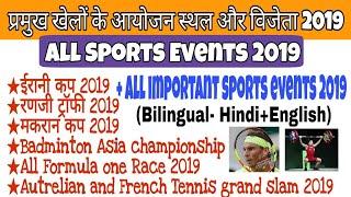 Sports events 2019 || खेलों के आयोजन स्थल और विजेता 2019 || Sports current affairs 2019 ||