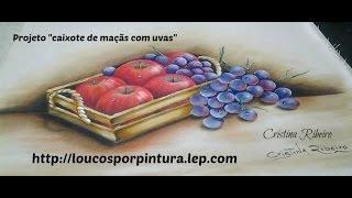 """Projeto """"Caixote com maçãs e uvas"""" – Pintura em tecido"""