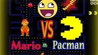 Pacman vs funny Mario comedy in mario maker 8 bit & super mario maker in  mario bros galaxy 2