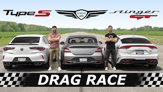 [Throttle House] 2021 Acura TLX Type S vs Genesis G70 vs Kia Stinger GT // DRAG & ROLL RACE