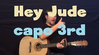 Gambar cover Hey Jude (The Beatles) Easy Strum Guitar Lesson Capo 3rd How to Play Tutorial