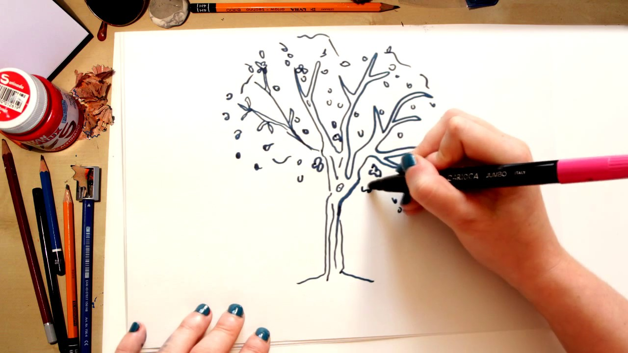 Como desenhar uma Árvore - desenhos para crianças