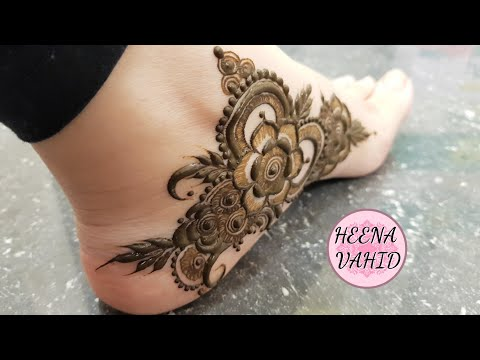 simple and easy feet henna design by heena vahid