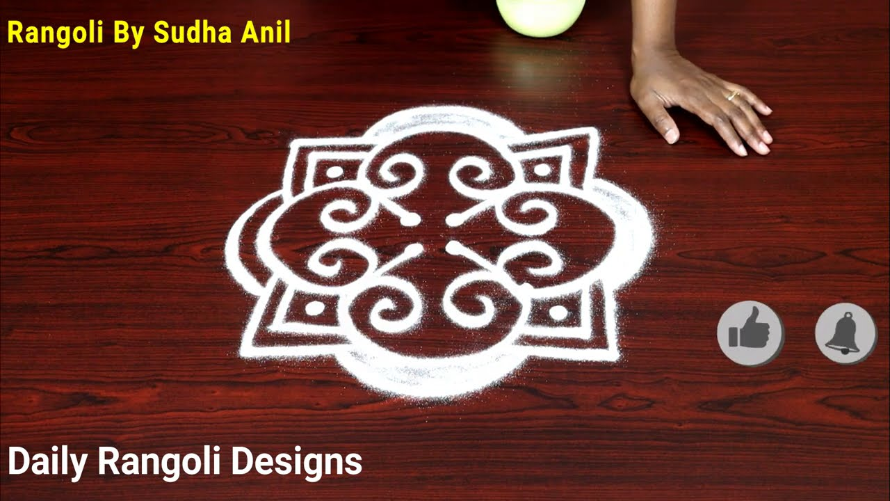 simple rangoli design with 2 dots by sudha anil