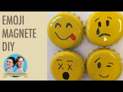 Emoji Kronkorken basteln I Smiley Magnete selber gestalten